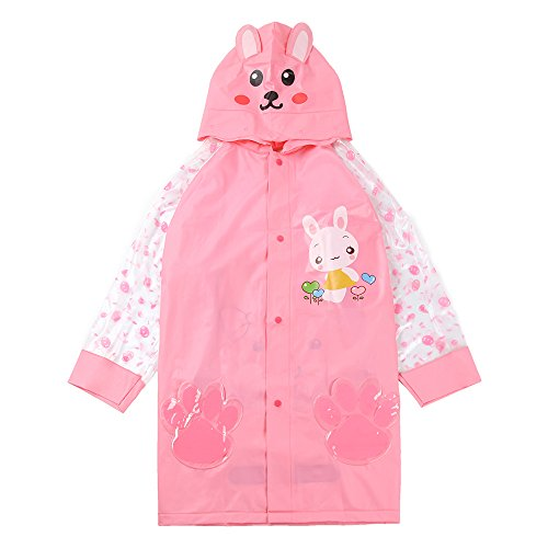 n Boys Girls Trench Rain Jacket Cartoon Hooded Outwear Long Raincoat Pink M (Fit 43.3
