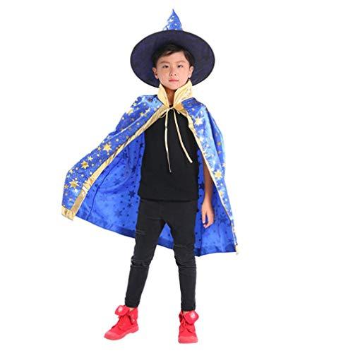 MOONHOUSE Halloween Kids Girls Boys❤️❤️ Wizard Witch Cosplay Costume Cloak Cape Robe+Hat (Blue)