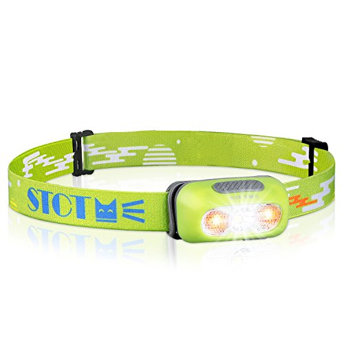 Ultra Bright Rechargeable Headlamp, IPX6 Waterproof Headlights Led, Adjustable Head Strap Light with Red Lights, Kids Headlamp for Reading, Running, Cycling - Green