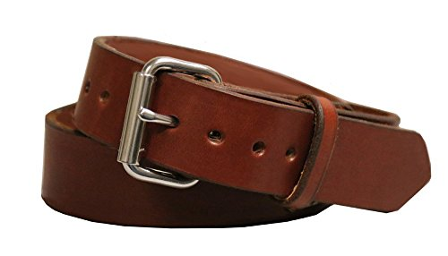 (Exos Gun Belt, English Bridle Leather, 14 Ounce - Stainless Steel Hardware - Handmade in The)