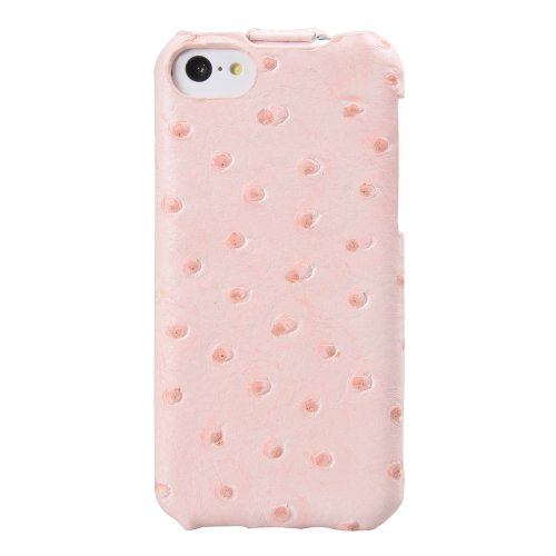 Melkco APIPONLCJT1PKOH Jacka Type Ostrich Print Pattern Premium Leder Case für Apple iPhone 5C pink