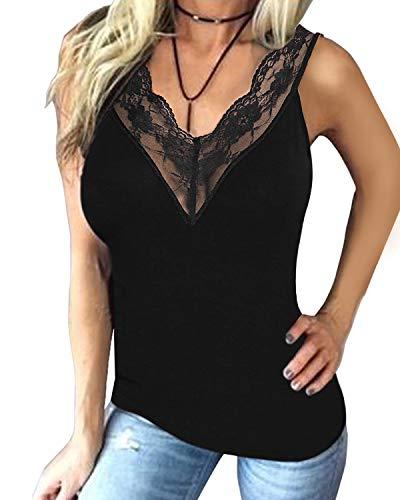 YOINS V Neck Lace Details Vest Blouse Basic Womens Camis Tanks Top Vest WW-Black M