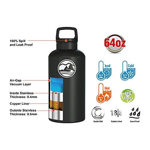 (Tahoe Trails 86-293 Water Bottle, 64 oz, Black)
