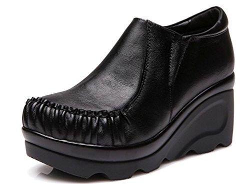 - FENIKUSU Women's New Handmade Heels Platform Wedges Leather Loafer Shoes (8, Black)
