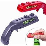 Rilla Mart 2pcs/lot Cap Launcher Bottle Beer Opener Bar Tool Gun Shaped Lids Shooter Home Gadgets (Red and Grey)