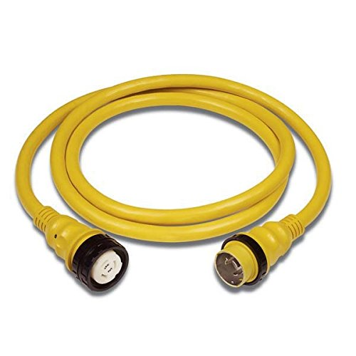 Marinco 6152SPP-25 PowerCord PLUS Marine 4-Wire Electrical Shore Power Cordset with LED Power Indicator Light (50-Amp, 125/250-Volt, 25-Feet, Yellow)