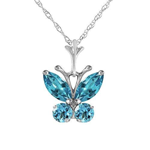 Blue Topaz Butterfly Pendant - Galaxy Gold 0.6 Carat 14k 18