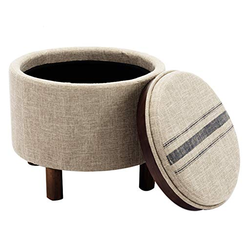 chairus Round Storage Ottoman with Tray, Small Footrest with Blue Striped Lid & Wood Legs, Beige (Ottoman Lid With Tray)