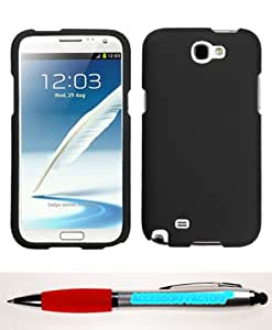 Accessory Factory(TM) Bundle (the item, 2in1 Stylus Point Pen) SAMSUNG Galaxy Note II (T889 I605 N7100) Black Phone Protector Cover(Rubberized)