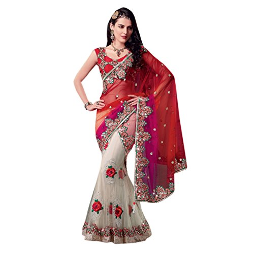 Triveni Women's Indian Off-White Net Embroidered Wedding Saree by Triveni