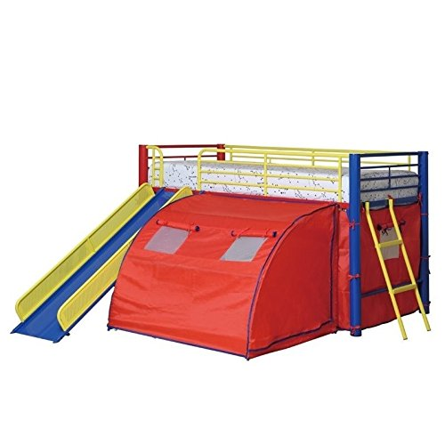 Bowery Hill Kids Metal Twin Loft Bunk Bed with Slide and Ten