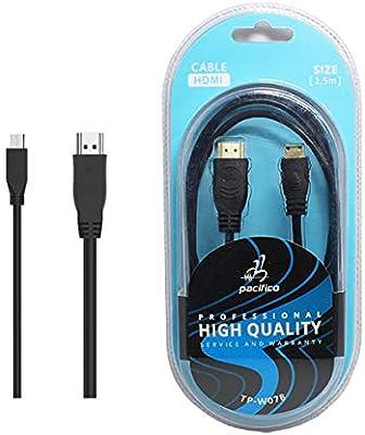 Cable HDMI a Mini HDMI Macho a Macho para Camara Tablet Telefono 1,5 Metros: Amazon.es: Electrónica