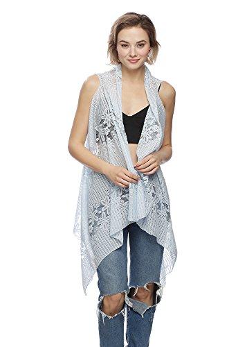 Van Hannah Elegant Long Lace Vest Cover-up (Blue)