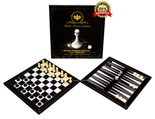 Windsor Premium Collection 3-in-1 Game Set | Portable Deluxe Checkers, Chess & Backgammon Tabletop Travel Bundle | Made with PU Leather | Comes in Beautiful Velvet Storage - Checker Box