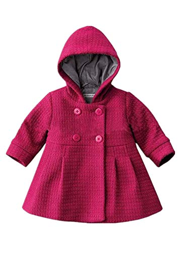 Verypoppa Baby Girls Hooded Long Sleeve A Line Trench Coat Jacket Outwear Top (12-24 Months, Rose Red)