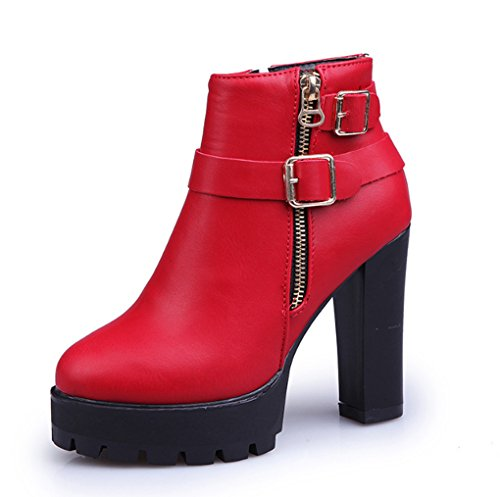 XZ Autumn and Winter Western Style High-Heeled Boots Round Head Female Boots Keep Warm Red zaby2w