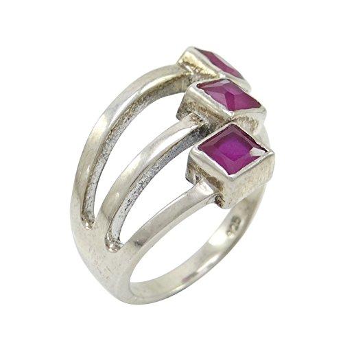 Banithani Argent Sterling 925 Pierres Précieuses Rubis Mode Anneau Cadeau De Bijoux Indiens Pour Les Femmes
