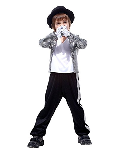 Dance Costume Michael Jackson (Kalanman Kids Boys Deluxe Assorted Halloween Costume Classic Theme Party Dresses (M(Fit for 4-6 Age), Michael Jackson)
