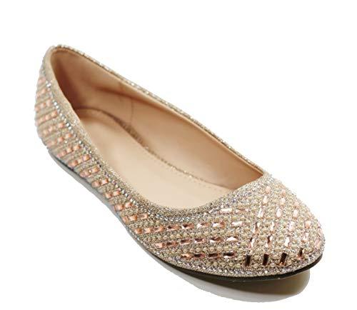 392e98c3dc4e1f Walstar Women Casual Rhinestone Glitter Mesh Slip On Ballet Flat Lightweigh