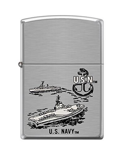 Zippo US Navy Ship Brushed Chrome Pocket Lighter (Brushed Chrome Design)