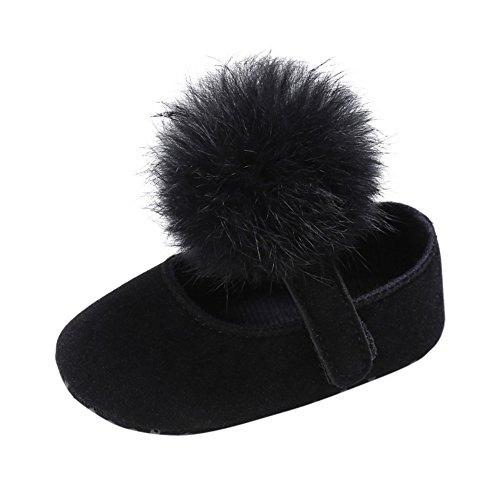 Weixinbuy Toddler Baby Girl Soft Sole Mary Jane Shoes Prewalker with Pom Pom Black