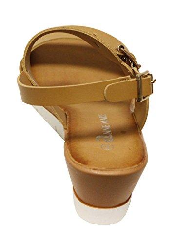 Anne Marie Eva-2 Donna Open Toe Single Band Slingback Zeppa Tacco Fibbia Cinturino Alla Caviglia Comfort Pu Sandali Tan