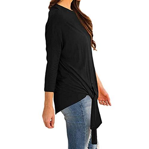 Tops Noeud Longues Trydoit Femmes Noir Manches Sweat Blouse Front Chat Capuche Tie Femme Shirt Automne Tee Casual ISSPqtwf