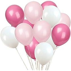 KADBANER Latex balloon 100 pcs 12 inch : white and light pink and rose red latex balloons