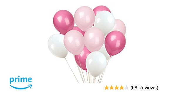Amazon Com Kadbaner Latex Balloon  Inch  Ef Bc 9a White And Light Pink And Rose Red Latex Balloons Toys Games