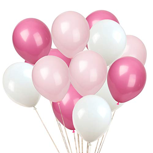 KADBANER Latex balloon 100 pcs 12 inch : white and light pink and rose red latex balloons -