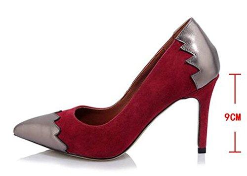 Boca Europa Mate De Otoño Rojo Baja Puntiagudos Zapatos Los Cuero Estados Unidos Moda Tacones Y Zapatos Altos OPtqwP
