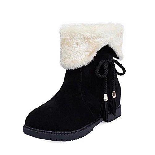 with Fur Tassels Flat Ankle Warm Boots Faux Womens Xjp 8twUY8