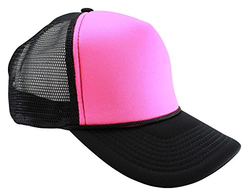 - Enimay Neon Colored Black Light Trucker Style Foam Hats Pool Party Rave Summer Neon Black Pink One Size