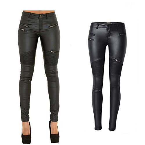 lexiart PU Leather Pants For Women Sexy Tight Stretchy Rider Leggings Black US (Skinny Leather Pants)