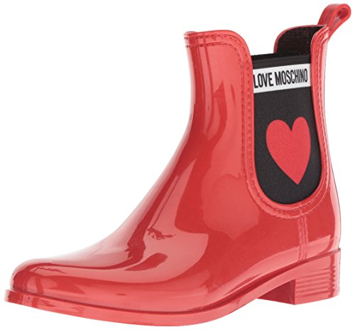 SCA rainboot30 Moschino Chelsea Femme Love nod PVC Bottes Rouge z1qUn