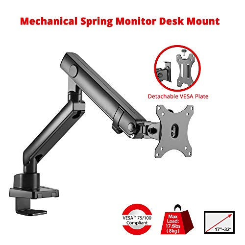 (SIIG Aluminum Mechanical Single Monitor Arm Mount - Height Adjustable Desk Mount for 17in to 32in Screens - 17.6lbs Max VESA 75x75mm 100x100mm, Black)