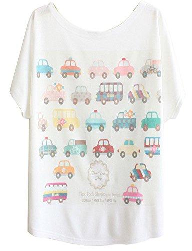 ANDI ROSE Womens Tee Short Sleeve Loose Printing White Funny T Shirts T-Shirt (Car 1098)