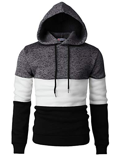 H2H Men Casual Hoodies Turtleneck Long Sleeve Sweatshirts Pullovers with Color Trim Charcoal US M/Asia L (CMOHOL058)