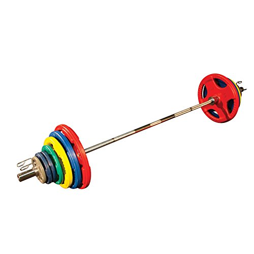 Body-Solid Colored Rubber Grip Olympic Set with Bar, Black/Cyan, 300 lb