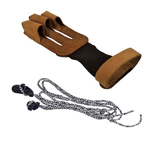 heaven2017 3 Fingers Faux Leather Archery Glove Hand Guard for Bow Arrow Shooting
