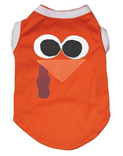 Petitebella Thanksgiving Turkey Face Orange Shirt Puppy Dog Clothes (X-Large)