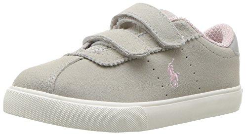 Polo Ralph Lauren Kids Girls' Hadley EZ Sneaker, Light Grey Suede/Pink Pop, 6 Medium US - Lauren Ralph Girl