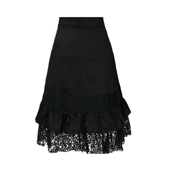 Yiluweinir Womens Black Steampunk Gothic Vintage Victorian Button lace Evening Party Skirt 4