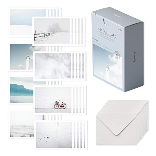Monolike Message card Serenity - mix 40 mini postcards, 20 envelopes package