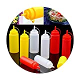 Plastic Squeeze Condiment Dispenser Tomato Sauce Salad Mustard Ketchup Cruet Storage Bottles,8Oz Red