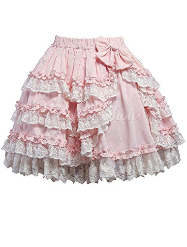 (Antaina Pink Cotton Floral Lace Ruffled Layered Bow Sweet Lolita Underskirt,L)