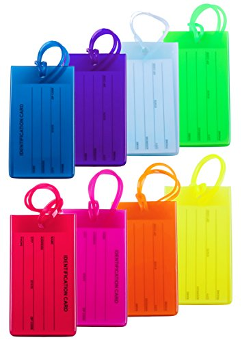 8 Packs Colorful Flexible Travel Luggage Tags for Baggage Bags/Suitcases - Name ID Labels Set for Travel (Luggage Plastic Tags)