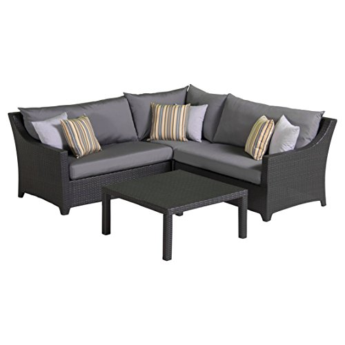 RST Brands Deco 4-Piece Corner Sectional Set with Cushions, Charcoal Grey