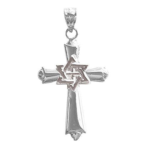 (Jewels Obsession 14K White Gold 29mm Messianic Cross Star of David Pendant)