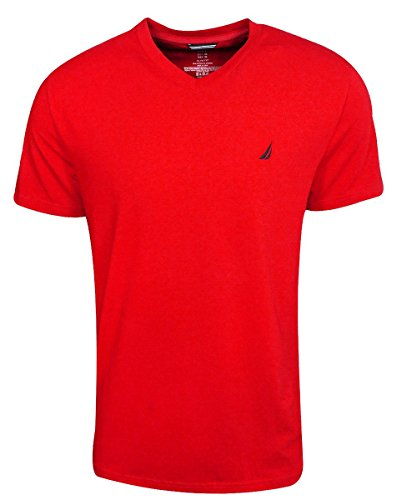 Nautica Short Sleeve Solid V-Neck Tee Natui Red Size Large (Nautica Clothing Men)